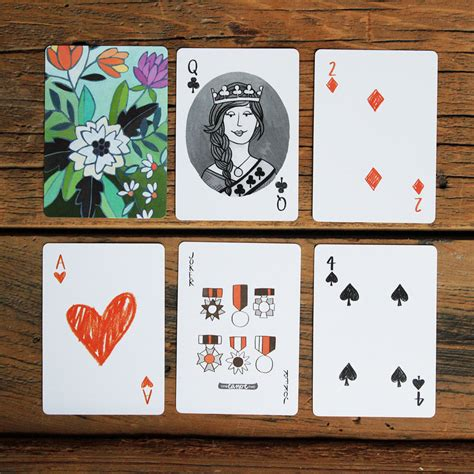 playing card print etsy artist illustrated playing cards standard 52 card deck by