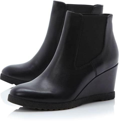 dune pontin wedge chelsea low boots in black black