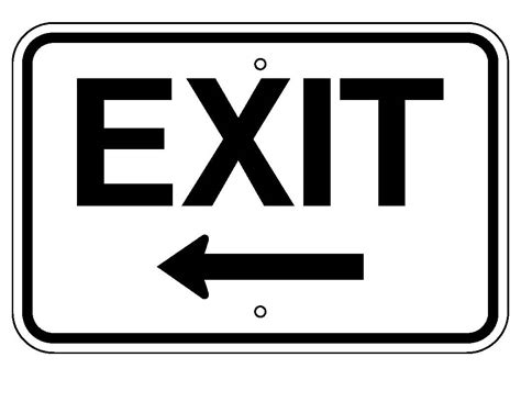 Exit A exit with left arrow denyse signs