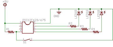 rgb led circuit diagram pic12f675 single rgb led controller semifluid