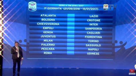 Calendario 1 Giornata Serie A Calendario Serie A 2016 2017 Prima Giornata Sorteggio