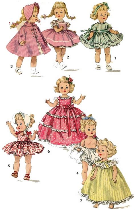 vintage doll clothes pattern 1372 for 8 in ginny muffie