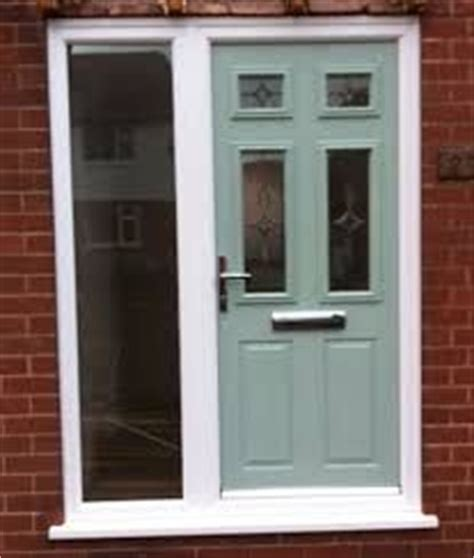 Contemporary Composite Door With Cream Upvc Side Panels Green Upvc Front Doors