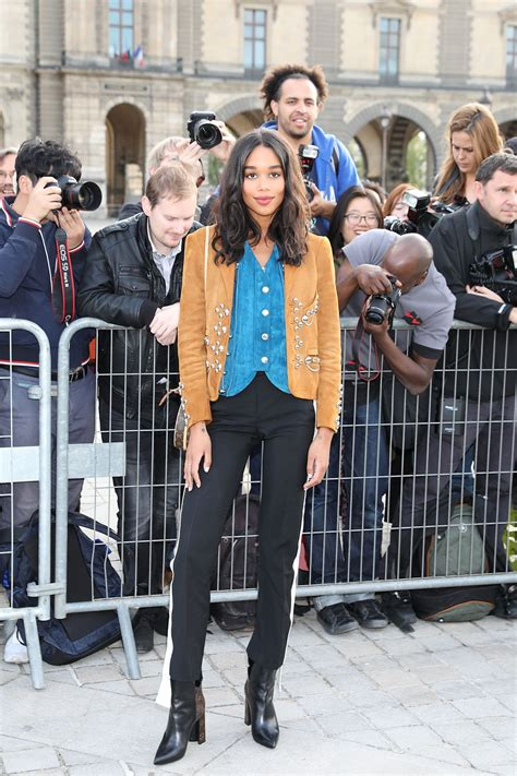 laura harrier hawtcelebs laura harrier at louis vuitton fashion show in paris 10 03