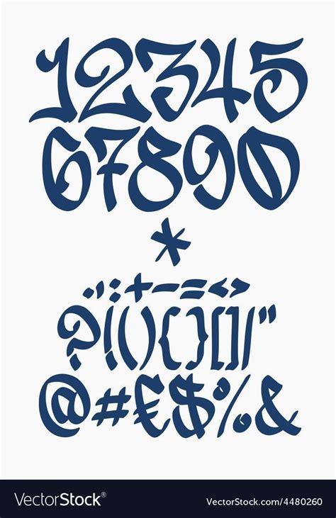 numbers  symbols graffiti font handwritten vector