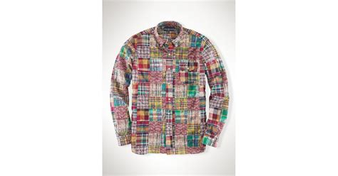 polo ralph custom patchwork madras shirt in green