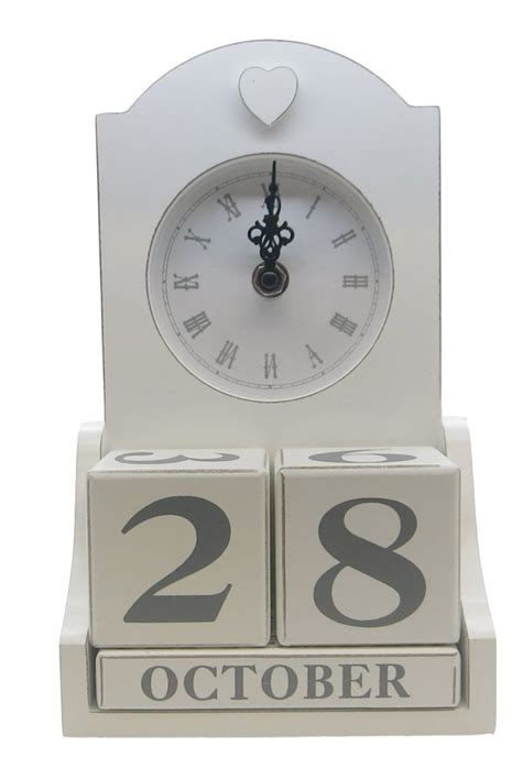 shabby chic desk accessories shabby chic white wooden clock perpetual calendar desk