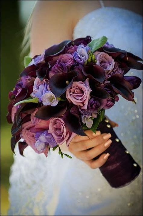 Wedding Bouquet Eggplant by Flowers For Eggplant Chagne Color Scheme