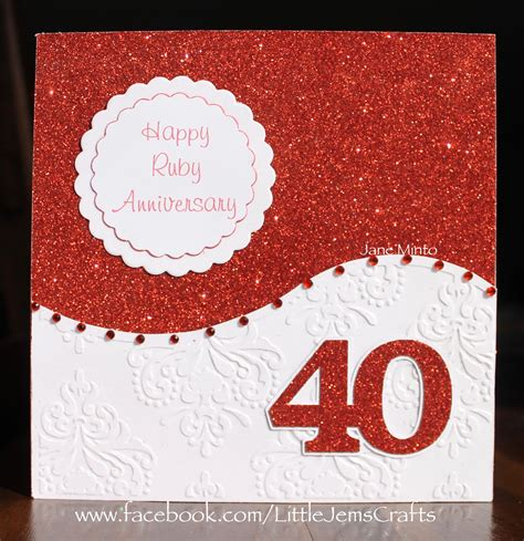 Ruby Wedding Anniversary Card Template by Ruby 40th Wedding Anniversary Card Made With The All