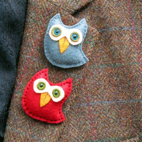 Felt Handmade - handmade felt owl brooch by thebigforest