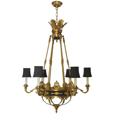 Black And Bronze Chandelier Empire Style Six Arm Chandelier In Gold Dore Bronze