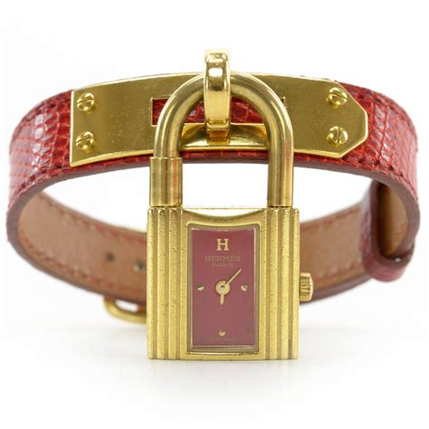 hermes lizard kelly cadena watch red 37956 - Hermes Cadena Watch
