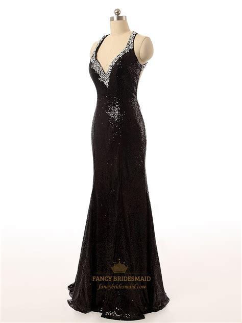 beaded open back prom dress black sequin v neck beaded straps bodycon mermaid prom