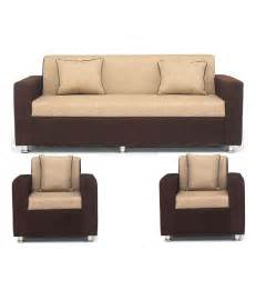sofa set buy sofa set in brown upholstery with 4 cushions