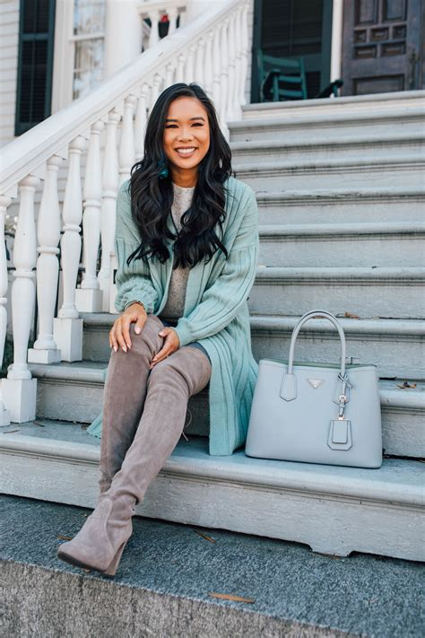 style  mint green cardigan  fall  winter color chic