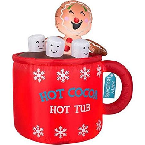Hot Cocoa Tub Airblown Inflatable Holiday Decoration 4.5 FT Tall   Green Ankles Gardening