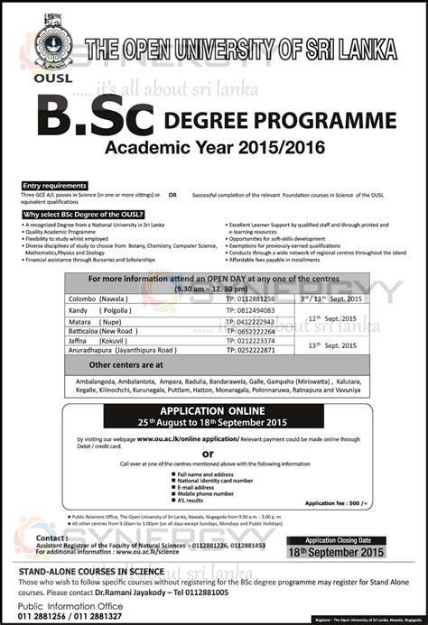 Applications For Programme Now Open by Open Of Sri Lanka Bsc Degree Programme