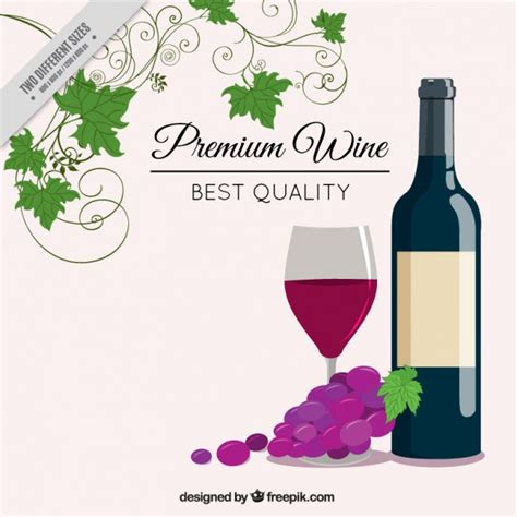 wine vector background with wine bottle vector free