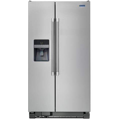 maytag 33 in w 21 3 cu ft side by side refrigerator in