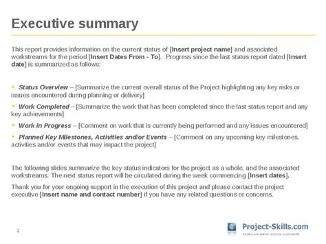 project status executive summary template project status report template hashdoc
