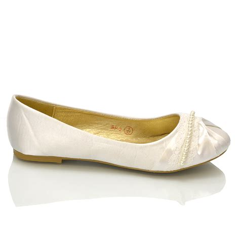 white pumps shoes new womens lace pearl wedding bridal ivory white ballerina