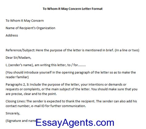 To Whom It May Concern College Letter Of Recommendation How To Write To Whom It May Concern Letter Format Essayagents Homework Help