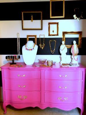 pink and white dressing room pink dresser black and white stripes mix matched gold