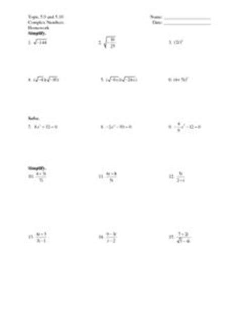 algebra 3 4 complex numbers worksheet answers topic 5 9 and 5 10 complex numbers 7th 9th grade worksheet lesson planet