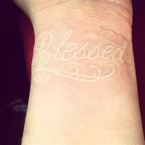 blessed wrist tattoos white ink blessed in wrist random