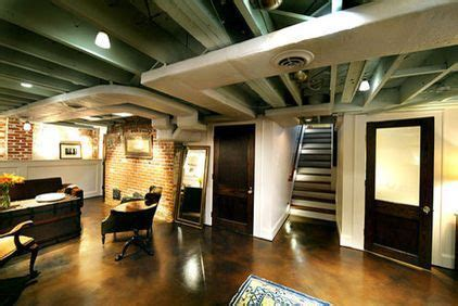 Ceiling color and white painted duct work   Basement Ideas