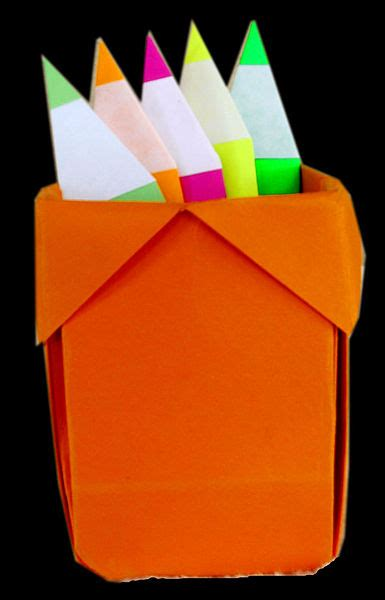 How To Make A Pen Stand With Paper - file origami pencil pen holder jpg wikimedia commons