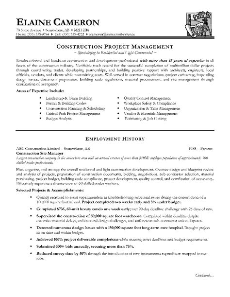 resume project manager construction resume