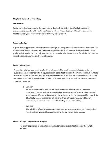 methodology chapter dissertation exles chapter 3 research methodology 1