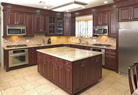 cherry wood kitchen cabinets with black granite