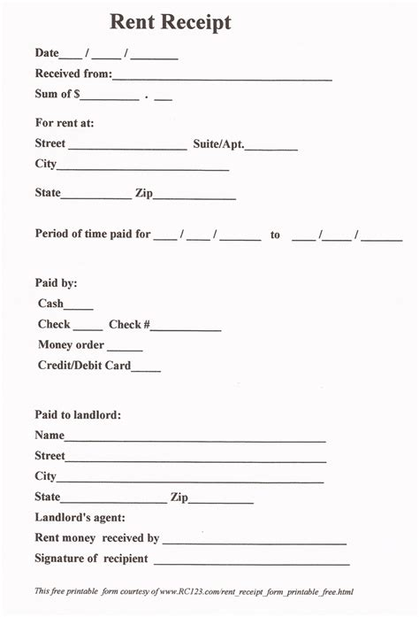 free printable receipt templates 11 best images of free printable payment receipt form