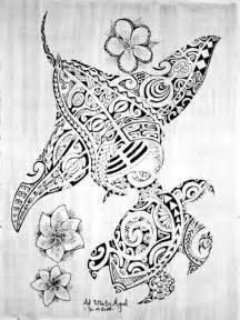Sea animals polynesian tattoos