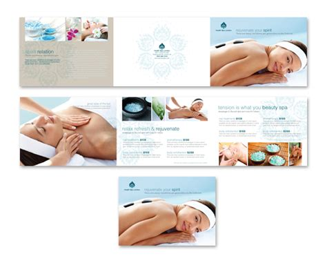 salon brochure templates day spa salon tri fold brochure template