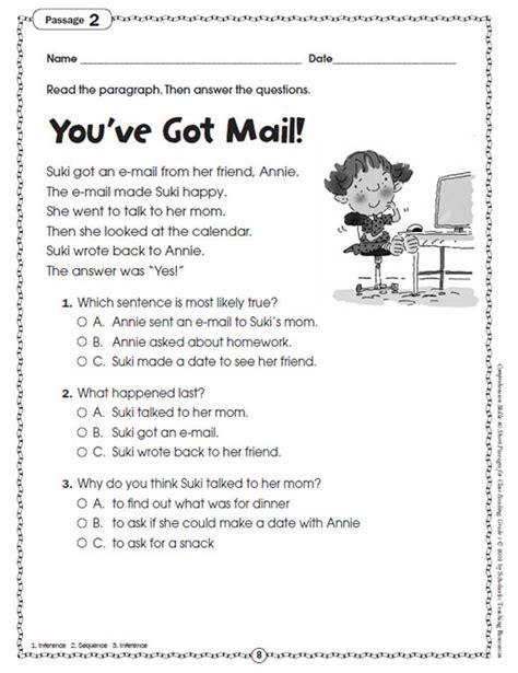 reading comprehension test short printables short comprehension passages for grade 4