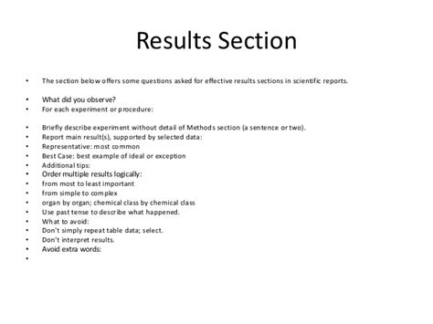 lab report results section exle exle of results section of a lab