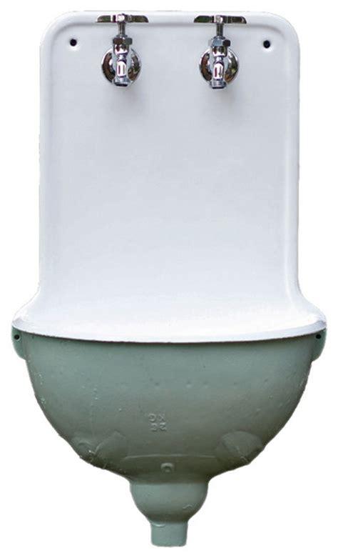 Consigned Cast Iron Antique Aqua Porcelain French Lavabo
