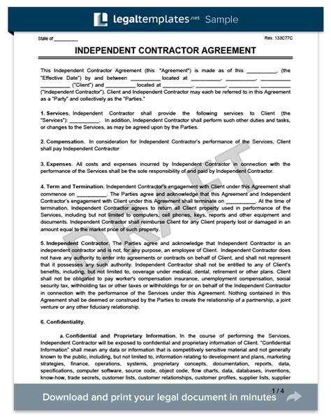 Create An Independent Contractor Agreement Legaltemplates Independent Contractor Form Template