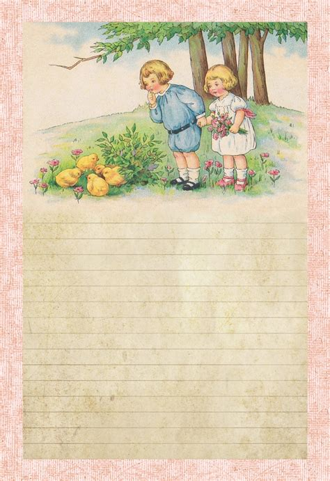 lined paper with spring border lilac lavender children spring chicks