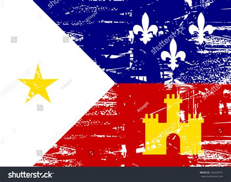 flag of acadiana city in the u s a grunge effect stock