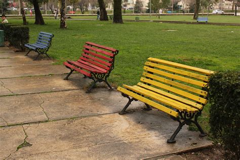 colored benches albania a rustic train in markets international
