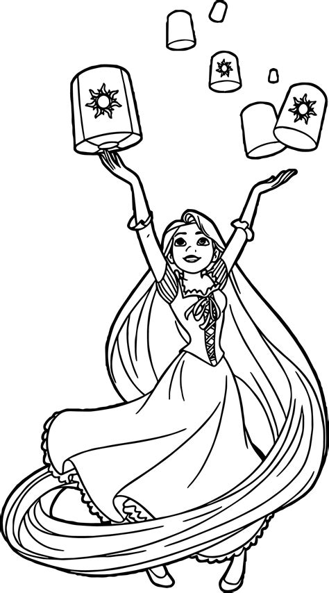 rapunzel coloring page tangled lanterns coloring pages sketch coloring page