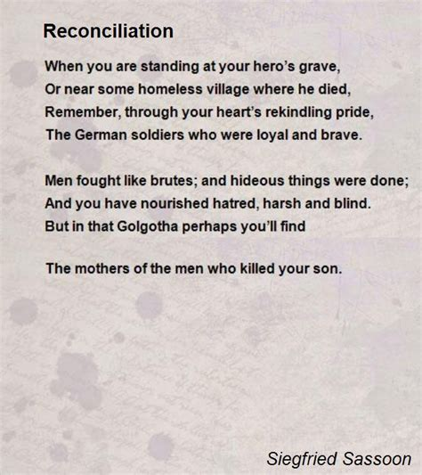 Quotes About Love Is Blind Reconciliation Poem By Siegfried Sassoon Poem Hunter