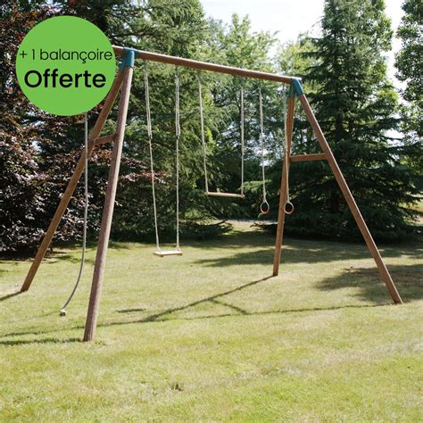 Balancoire Adulte by Portique Bois Trait 233 Galdar Avec Balan 231 Oire Anneaux