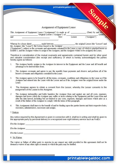 Free Printable Assignment Of Equipment Lease Form (GENERIC)