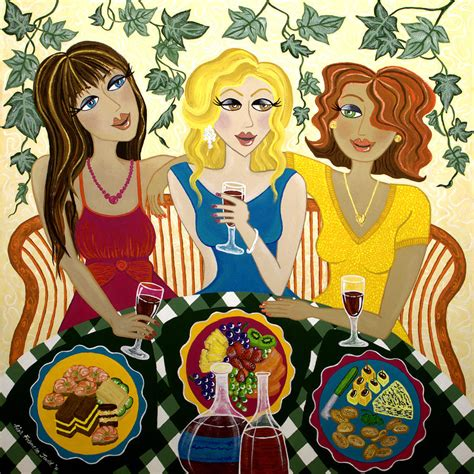 three celebrate three girlfriends celebrate painting by frances judd