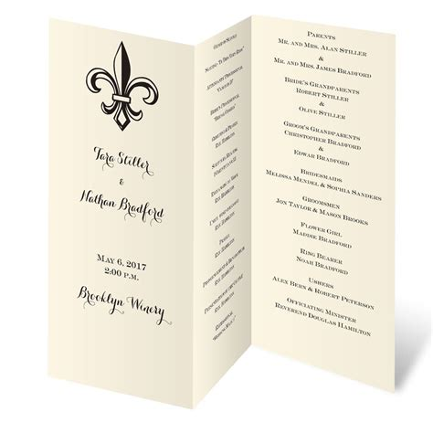 tri fold wedding invitation template ecru trifold program invitations by